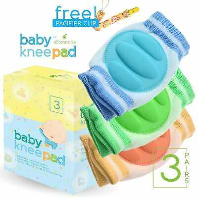 Baby Knee Pads for Crawling (3 Pairs) - Adjustable Breathable Waterproof Safe...