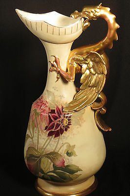 DRAGON GRIFFITH HANDLE PORCELAIN EWER PITCHER 1800's HP FLORAL GOLD AUSTRIA