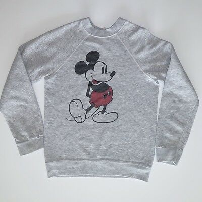 VINTAGE ORIGINAL DISNEY MICKEY MOUSE SWEATSHIRT GREY 1980s XS / SMALL