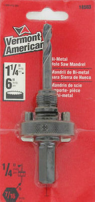"""Vermont American Bi-Metal Hole Saw Mandrel # 18503  Fits 1-1/4"""" To 6"""""""
