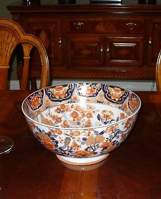 "Huge Imari 14"" Center Bowl High Quality Porcelain Chop Signed ANTIQUE  ?"