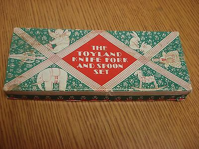 The Toyland Knife Fork and Spoon Set in Malabar Plate original box, Mother Goose