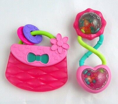 Bright Starts Baby Girl Pink Toy Purse Teether & Rattle Set of 2