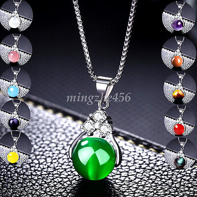 Gemstone Pendant Bead For Necklace Natural Quartz Crystal Healing Round Stone