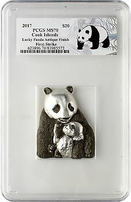 2017 $20 Cook Islands Lucky Panda 88g .999 Silver Coin PCGSMS70 First Strike