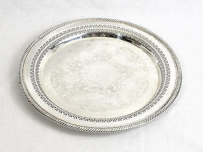 "Vintage Wm Rogers #170 12"" Round Silver Plated Pierced Serving Tray"