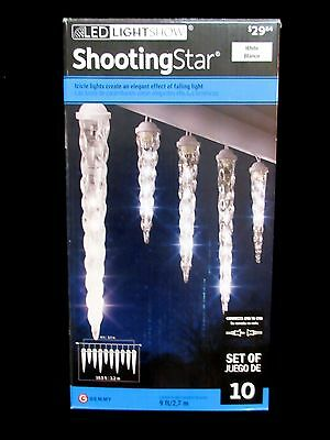 NEW Gemmy LED Lightshow Shooting Star Icicle Lights White Set of 10