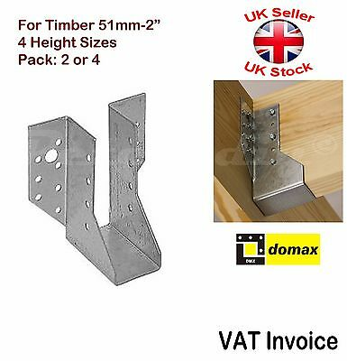 "Heavy Duty Face Fix Joist Hangers Hanger for Timber 51mm - 2"" Pack: 2 or 4"