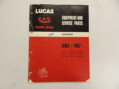 Lucas Equipment and spare parts cat. 1967 BMC Co. CCE 900.67