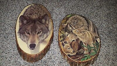 Vtg Lacquered Timber Wolf Decoupage Wood Wall Plaques Pictures set of 2