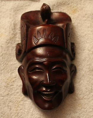 Anitque Oriental Handcarved Rosewood Mask with Bone Teeth