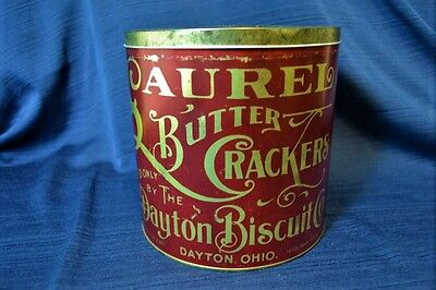 Antique LAUREL BUTTER CRACKERS Tin 23 Oz. Nice Condition