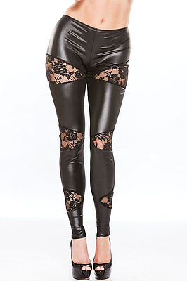 NEW Allure Wet Look with Lace Leggings BLACK, Leather Vinyl Accessory