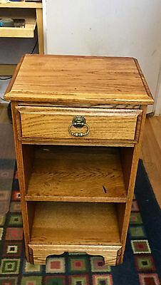 Vintage Solid Oak Night Stand with Drawer And Shelfs Made In USA