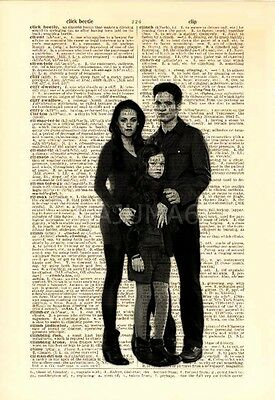 Upcycled Vintage Dictionary Book Page Art Print Twilight Bella Edward Renesmee