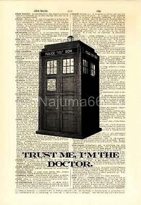 Upcycled Vintage Dictionary Book Page Wall Art Prints Doctor Who Tardis Trust Me