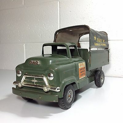 Excellent Vintage Buddy L Tin Toy Truck ARMY SUPPLY