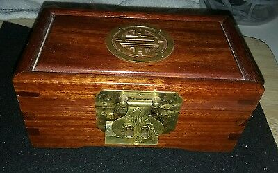 ANTIQUE CHINESE JEWELRY BOX (Mahogany)  with antique type lock