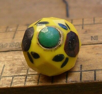 """WOW 1/2"""" Yellow Ball Glass on Green  Glass Antique Button 81:9"""