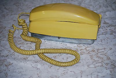 Vintage Western Electric Trimline Yellow Bell Systems Wall Rotary Telephone