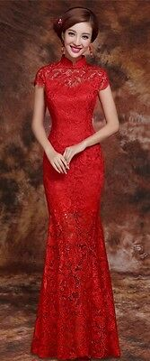 Traditional Chinese Long Red Lace Qipao Cheong-sam Wedding Dress - Size 0 / XS