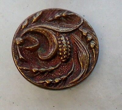 """WOW 5/8"""" Nice Old Brass Antique Button 484:20"""