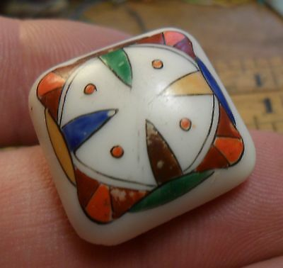 """WOW 7/8"""" Box Shank Painted Victorian  Glass Antique Button 81:15"""