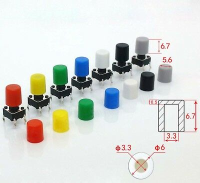 A86 6x6.7mm Push Button Round Cap for 6x6mm Momentary Tactile Switch - Cap Only