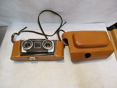 vintage Kodak Stereo Camera with Twin 35mm f/3.5 Kodak Lens and Leather Case, NR