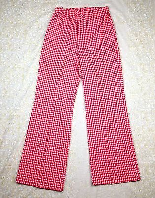VTG 70's Sears Perma Prest Polyester Pants Red White Houndstooth 1970's Sz 16