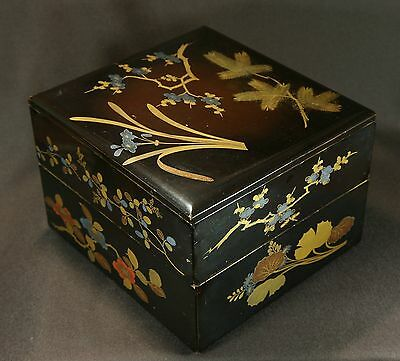 Japanese Vtg Lacquer Ware Wood Box with Lid Makie Flower Nest of boxes Two Stack