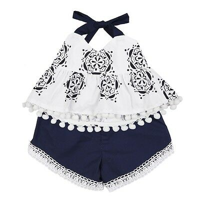 AU Newborn Kids Baby Girls T-shirt Tops + Short Pants Shorts Outfits Clothes Set