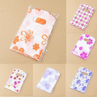 sale 100pcs Mixed Pattern Plastic Gift Bag Shopping Bag 14X9CM SWT