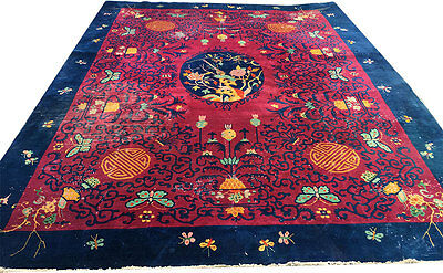 "An Unusual Antique chinese Art Deco Rug ""Happiness & Longevity pattern"""