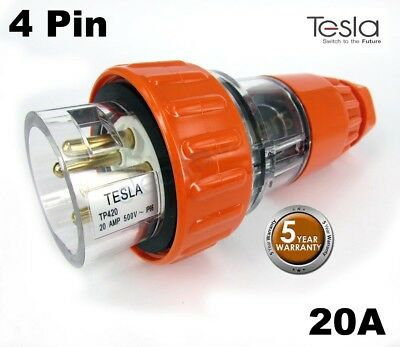 Tesla 20 AMP 3 Phase 4 Pin Round Extension Plug