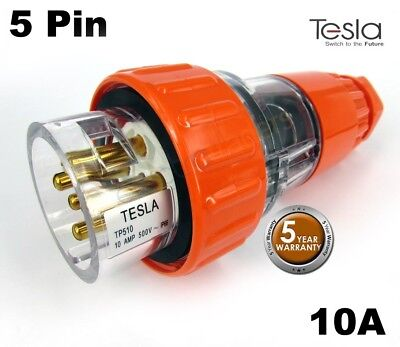 Tesla 10 AMP 3 Phase 5 Pin Round Extension Plug