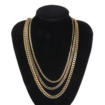 18K Gold Plated Heavy Stainless Steel Curb Cuban Link Chain Men Necklace 3.5-7mm
