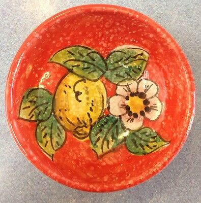 Vietri Pottery-4,3/4inch bowl Red Lemon.Made/Painted by hand in Italy