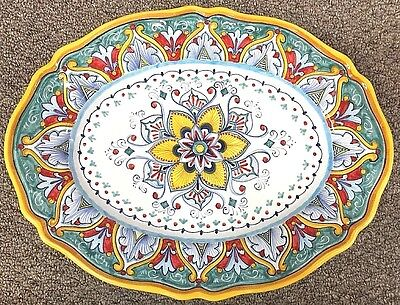 Deruta Pottery-14,3/4x11 Inch Tray Vario Made/Painted byhand-Italy.