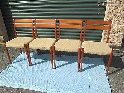 Set Of 4 Vintage Mid Century Danish Modern Teak Dining Chairs FREE GRYHND SHIP