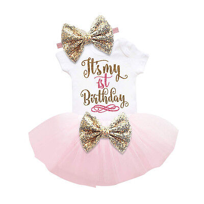 Newborn Baby Girls Party Birthday Romper Jumpsuit Pants Skirt Outfits Clothes
