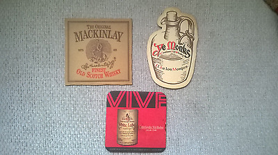 Lot Of 3 Coasters Scotch Whisky Brands Dewar's White Label, Mackinlay & Ye Monks