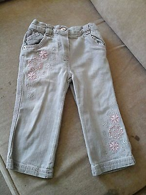 Girl's Mothercare Grey Jeans (pink flower detail) - size 9-12 months