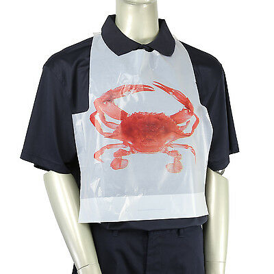 Royal Adult Disposable Poly Bibs with Crab Design, Case of 2,500, PB24