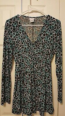 OH BABY By Motherhood Maternity Teal Tunic Top Size L