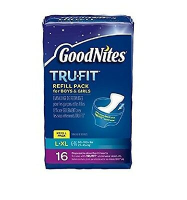 GoodNites TRU-FIT Refill Pack Disposable Absorbent Inserts for Boys Girls L/LX -