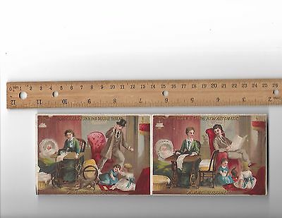 Wilcox and Gibbs Sewing Machine Pair Uncut Trade Cards Rare