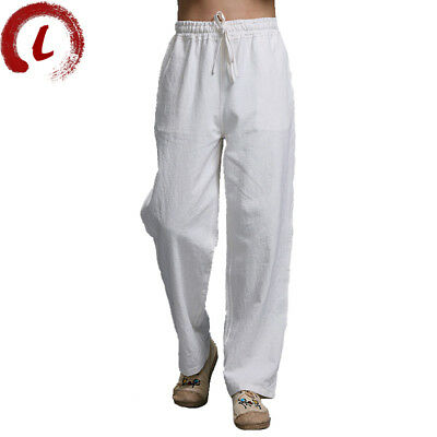 Mens Chinese Style Linen Drawstring Casual Pant Summer Trouser AUAS Fashion