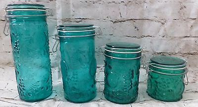 Four Green Fruit Glass Flour Sugar Coffee Canisters Jars