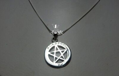 Blessed Be Pentagram necklace with Theban Script sterling silver pagan wiccan
